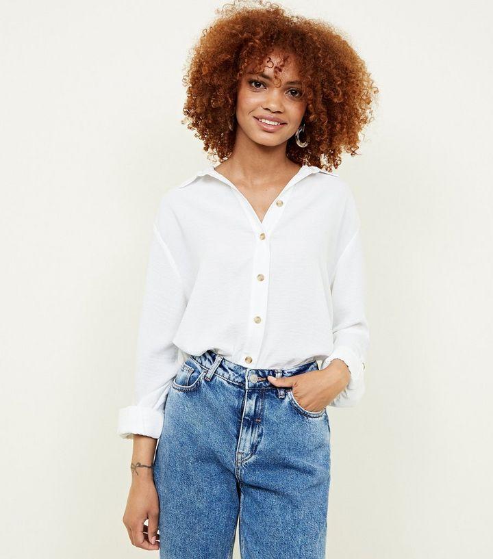 9b1fcbd7 Off White Linen-Look Longline Shirt | New Look