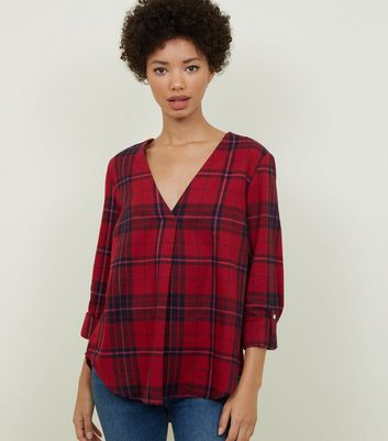 Red Check Open Neck Shirt