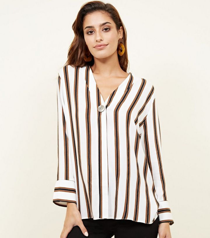 719f2ea8b171de Off White Stripe Single Button Blouse | New Look