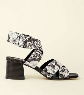 Black Premium Leather Faux Snakeskin Strappy Sandals