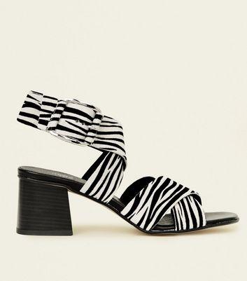 Sandales noires en daim Premium motif zèbre   New Look  WkOoL