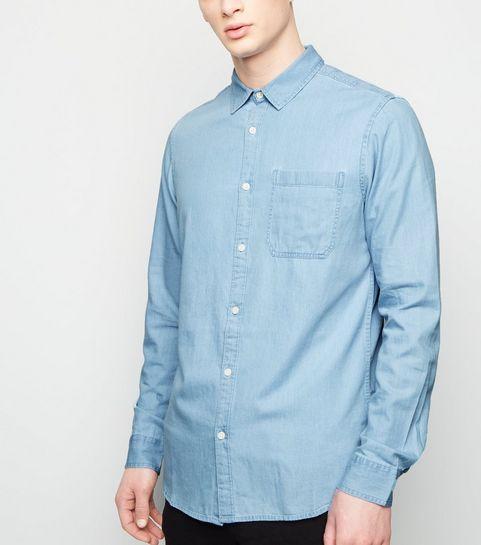 ebec1937e64 ... Pale Blue Long Sleeve Denim Shirt ...