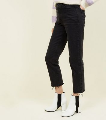 Black Frayed Cropped Straight Leg Harlow Jeans Add to Saved Items Remove from Saved Items