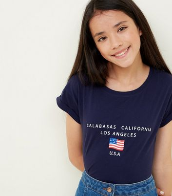 Girls Navy USA Flag Logo T-Shirt