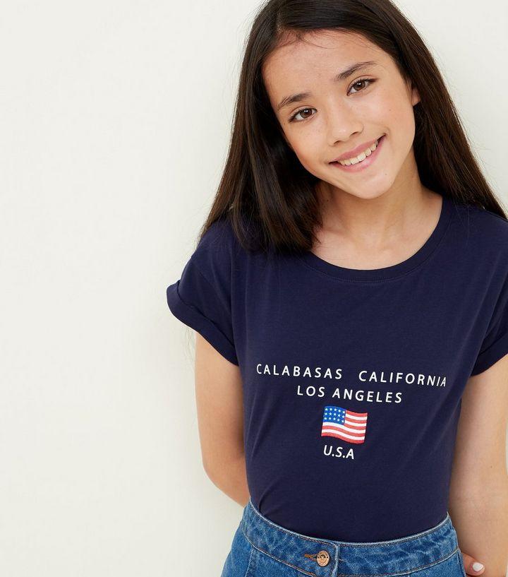 89746cfe Girls Navy USA Flag Logo T-Shirt   New Look