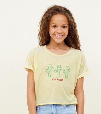 Girls Yellow Cactus Slogan T-Shirt