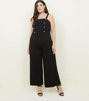 Curves Black Gold Button Front Cropped Jumpsuit