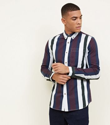 Red Striped Long Sleeve Printed Twill Shirt