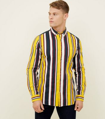 Yellow Stripe Washed Cotton Long Sleeve Shirt