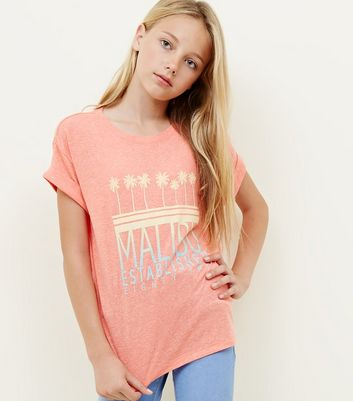 Girls Coral Malibu Slogan T-Shirt