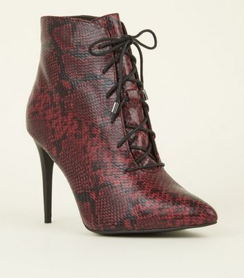 Red Faux Snakeskin Lace Up Pointed Shoe Boots