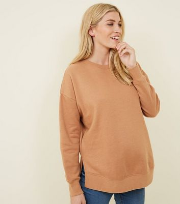 Maternity Camel Side Split Sweatshirt
