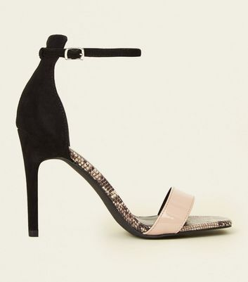Black Faux Snake Colour Block Stiletto Sandals