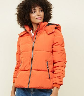 Bright Orange Contrast Zip Front Puffer Jacket