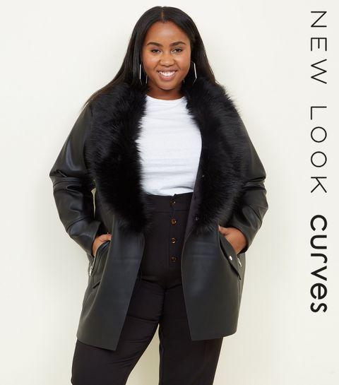 e13e699a714 ... Curves Black Leather-Look Faux Fur Collar Jacket ...