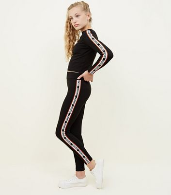 Girls Black Chicago Side Stripe Leggings