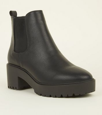Black Ankle Length Chunky Heeled Boots