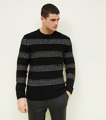 Black Cross Stitch Stripe Knit Jumper