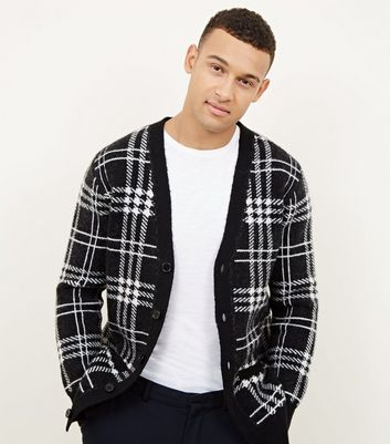 Black Check Button Front Cardigan