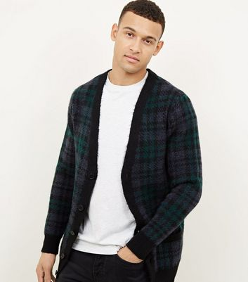 Dark Green Check Button Front Cardigan