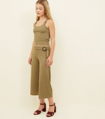 Girls Khaki Ribbed Faux Horn Buckle Culottes