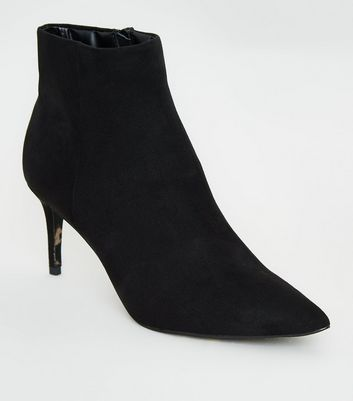 Black Leopard Print Sole Pointed Ankle Boots
