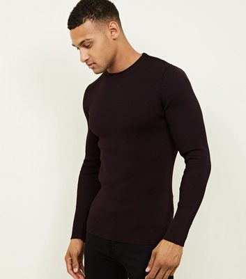 Burgundy Muscle Fit Ribbed Jumper