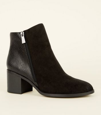 Black Faux Snakeskin and Suedette Block Heel Boots