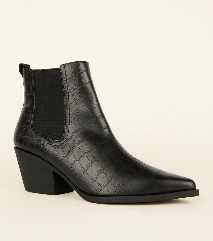 9d890d07c1a Black Faux Croc Western Chelsea Boots