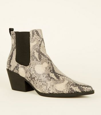 Black Faux Snake Western Chelsea Boots