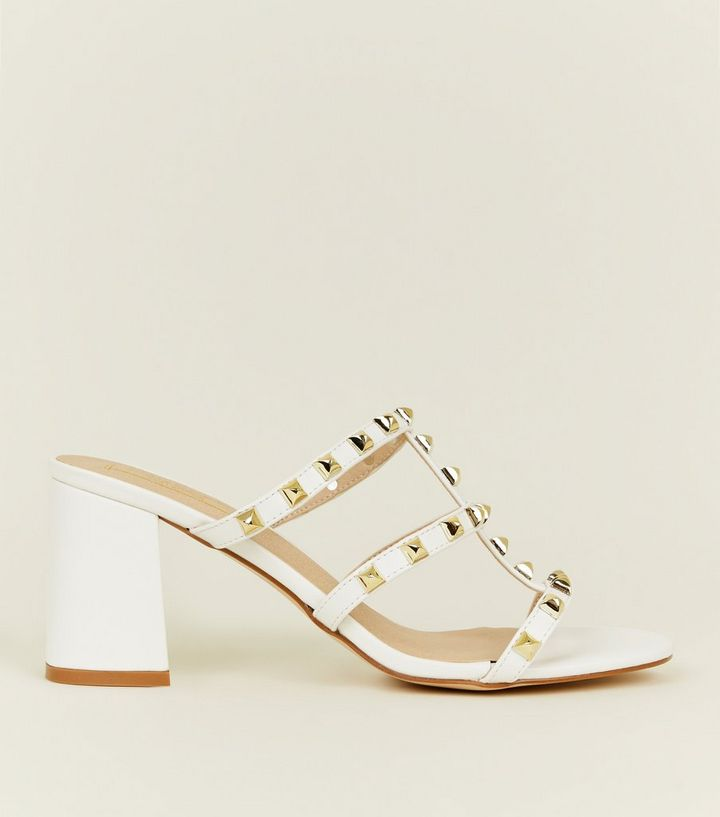 9017b1fb571 White Studded Block Heel Mules Add to Saved Items Remove from Saved Items