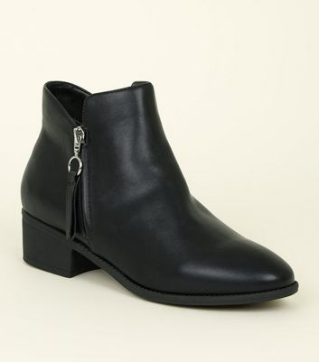 Black Leather-look Zip Detail Low Ankle Boot