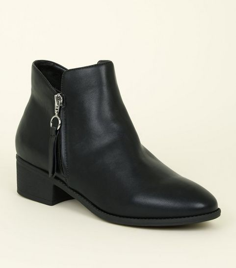 05977645eaa76 ... Black Zip Side Western Ankle Boots ...