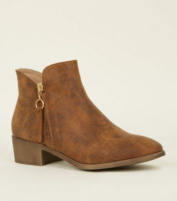 Tan Zip Detail Low Ankle Boot