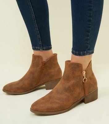 Tan Zip Detail Low Ankle Boot New Look