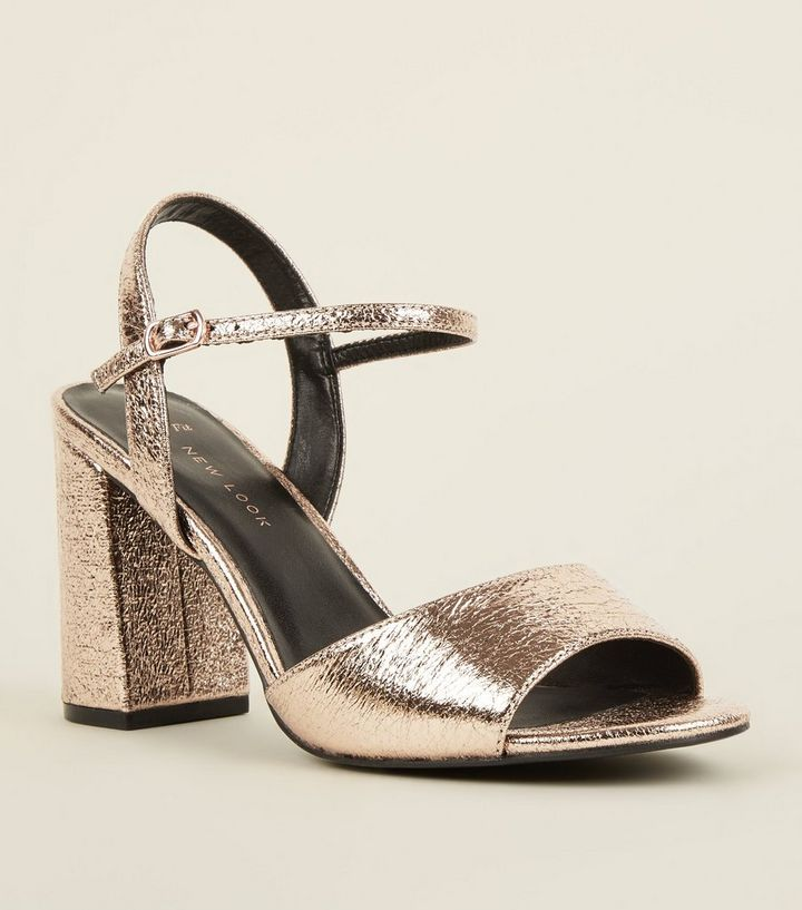 59d29aeaebe9 Wide Fit Rose Gold Open Toe Heeled Sandals