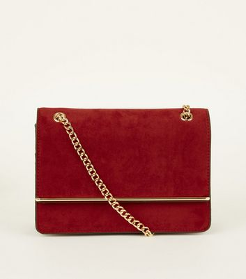Burgundy Suedette Bar Front Chain Shoulder Bag