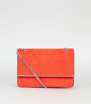 Bright Orange Chain Strap Shoulder Bag