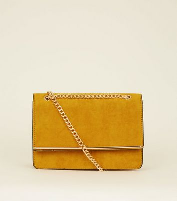 Mustard Suedette Bar Front Chain Shoulder Bag
