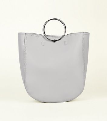 Grey Leather-Look Ring Handle Tote Bag