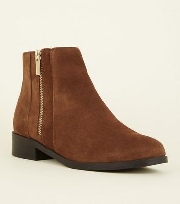 Wide Fit Tan Suedette Side Zip Ankle Boots