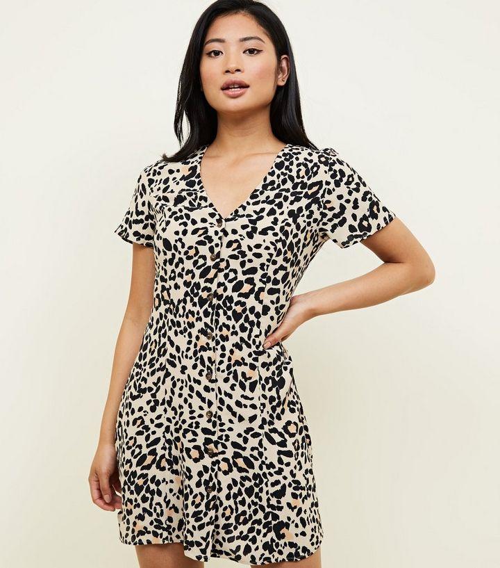 5815cff9e9 Petite Brown Leopard Print Tea Dress