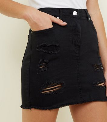 Parisian Black Ripped Denim Skirt New Look