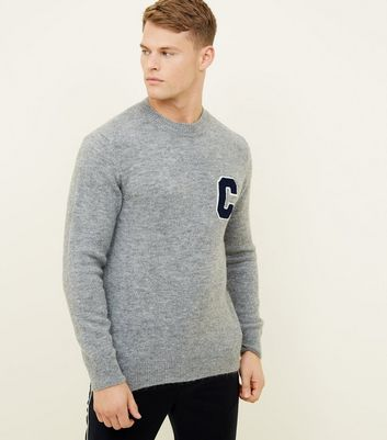 Grey Brushed C Initial Crew Neck Jumper