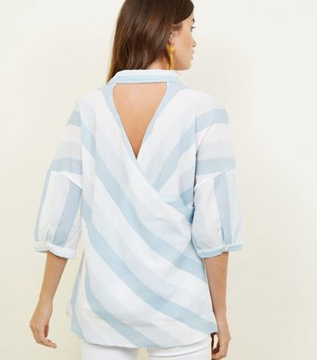 Apricot Blue Stripe Cut-Out Back Shirt New Look