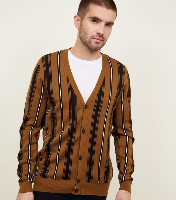 3254f8dd Rust Vertical Stripe Cardigan Add to Saved Items Remove from Saved Items