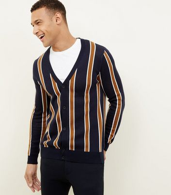 Navy Vertical Stripe Cardigan