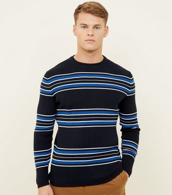 Blue Stripe Crew Neck Jumper