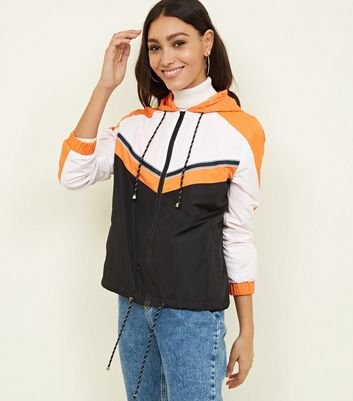 Orange Colour Block Windbreaker