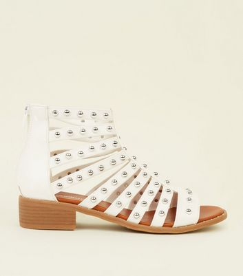 White Stud Low Block Heel Gladiator Sandals
